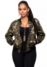 Women's Stand Collar Graphic Print Bomber Zipper Jacket