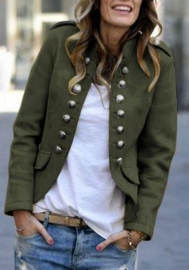Women Fashion Front Double Button Open OL Blazer