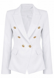 Women Fashion Front Double Button Classic Simple Blazer Suits