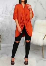 Women Fashion Solid Color Cross Ruffle Middle Sleeve Shirts