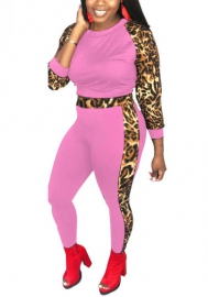 Women Fashion Leopard Long Sleeve Tops and Long Pants Tracksuit Set
