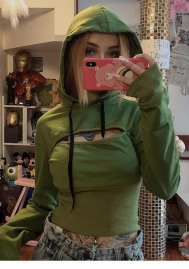 Women Fashion Cut Out Green Long Sleeve Hoodie Crop Tops
