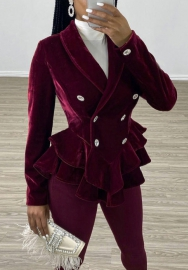 Women Fashion Velvet Double Button Long Sleeve Blazer Suit