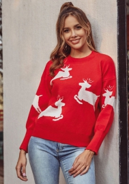 Women's Knitted Cute Christmas Sweater Xmas Reindeer Pullover Jumper Top
