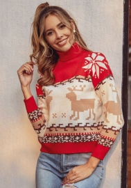 Christmas Sweater for Women Vintage Funny Merry Tunic Knit Sweaters