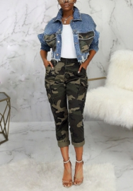 Women Fashion Camouflage Patch Pocket Bottom Tassel Jeans Jackets