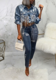 Women Sexy Jeans Bottom Tassel Long Sleeve Crop Tops