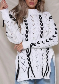 Women Fashion White/Black Long Sleeve Sweaters