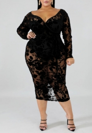 (Plus Size )Women Sexy Mesh Lace Long Sleeve Long Sleeve Midi Dress