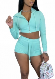 (Pre-Sale)2020 Styles Women Fashion INS Styles Solid Color Front Zipper Two Pieces Set