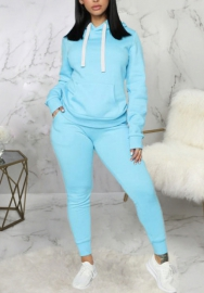 2020 Styles Women Fashion INS Styles Fashion Solid Color Hoodie Two Piece Set